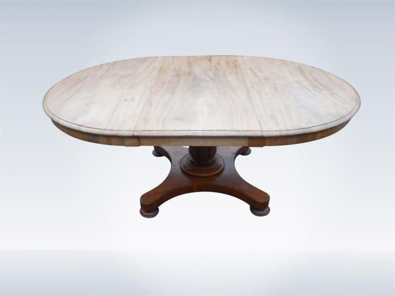 Genial Early 19th Century Post Regency Round Mahogany Extending Pedestal Based  Table