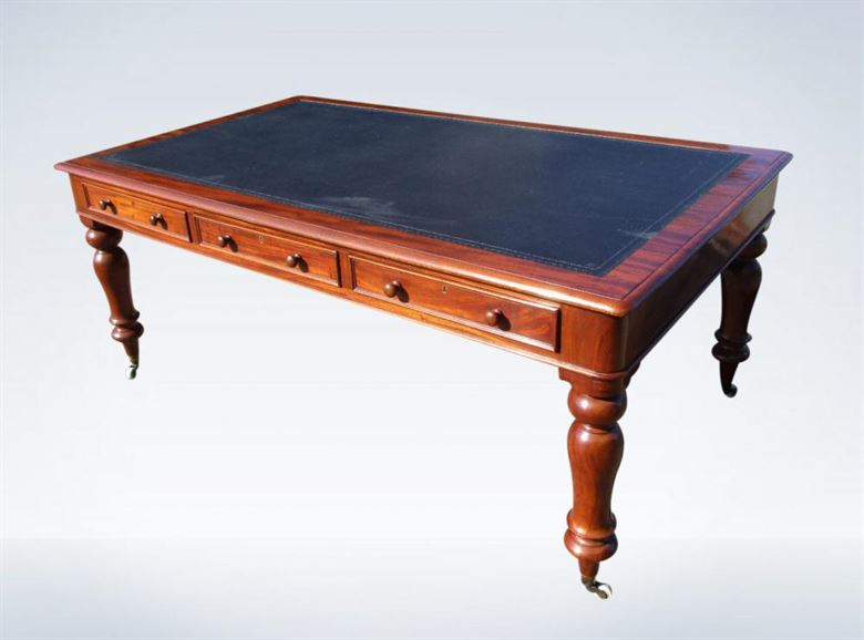 Early Victorian 6ft Mahogany Partner Library Table Desk (one Of Pair)
