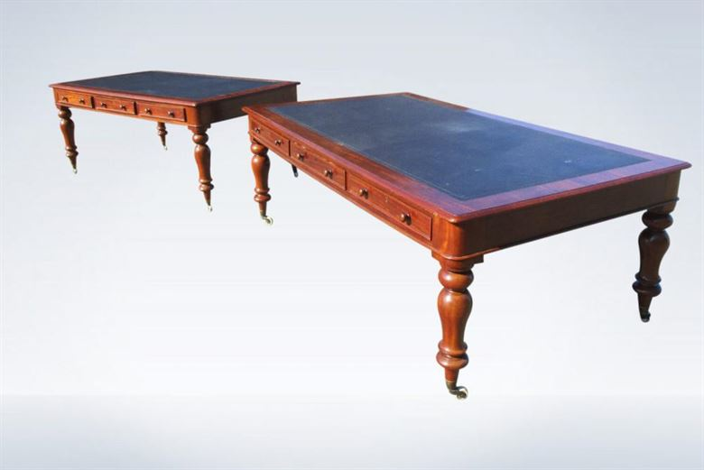 Early Victorian 7ft Mahogany Partner Library Table Desk (one Of Pair)
