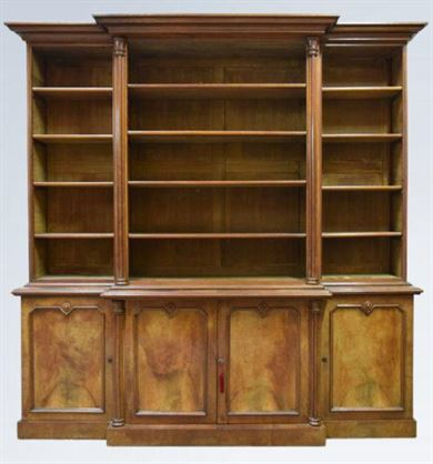 Early Victorian Walnut Open Top Library Breakfront Bookcase