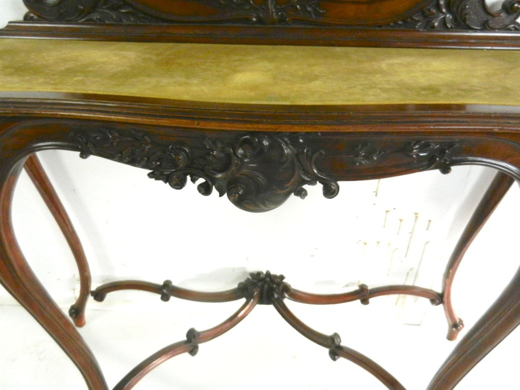 Fabulous Elegant Late 19th Century Victorian Rococo Carved Mahogany Antique Hall Console With Mirror