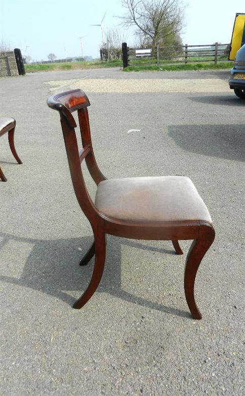 Fabulous Set Of Original Regency Mahogany Dining Chairs With Sabre Legs