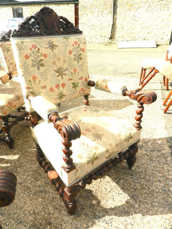 Fabulous Set Of Twelve Late 19th Century Jacobean Carved Antique Oak Dining Chairs