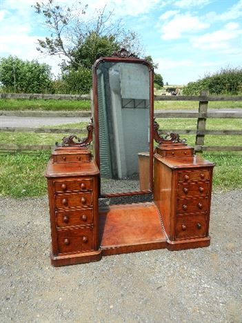 Full Height Victorian Dressing Mirror - Mid 19th Century Fitted Mahogany Cheval Dressing Mirrors