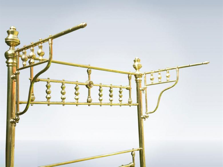 Genuine Victorian Brass Canopy Half Tester Double Bed