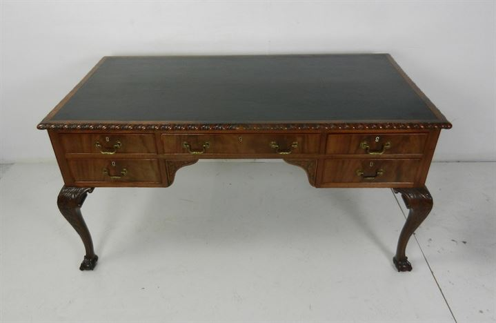 George II Revival Mahogany 5ft Library Writing Desk Table