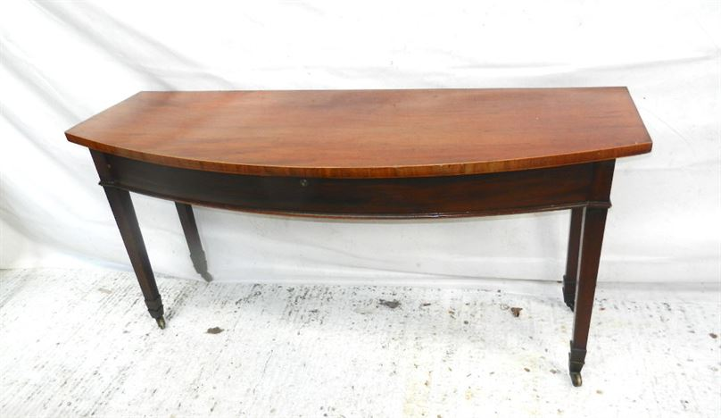 Georgian Hall Console Server - George III Shallow Depth Mahogany Bow Fronted Hall Console Or Server