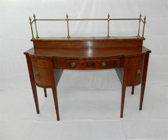 Georgian Mahogany Bow Fronted Sideboard - Late 18th Century Sheraton Period Mahogany Sideboard With Brass Gallery
