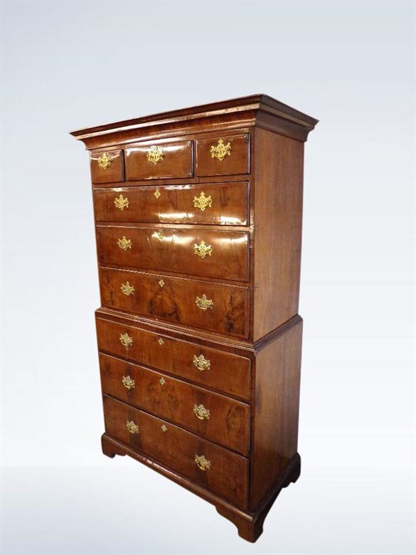Georgian Walnut Tallboy George II Period - Antique Bedroom Furniture UK : Antique Beds, Antique Wardrobes