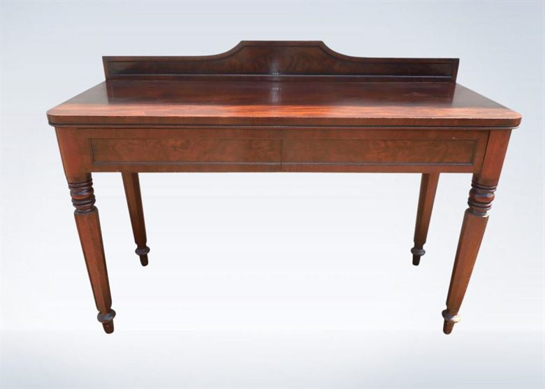 Antique Hall Table - Grand Post Regency Mahogany Console Hall Table