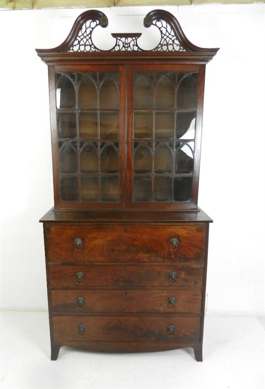 Handsome Late Regency Period Georgian Library Antique Mahogany Secretaire Bookcase