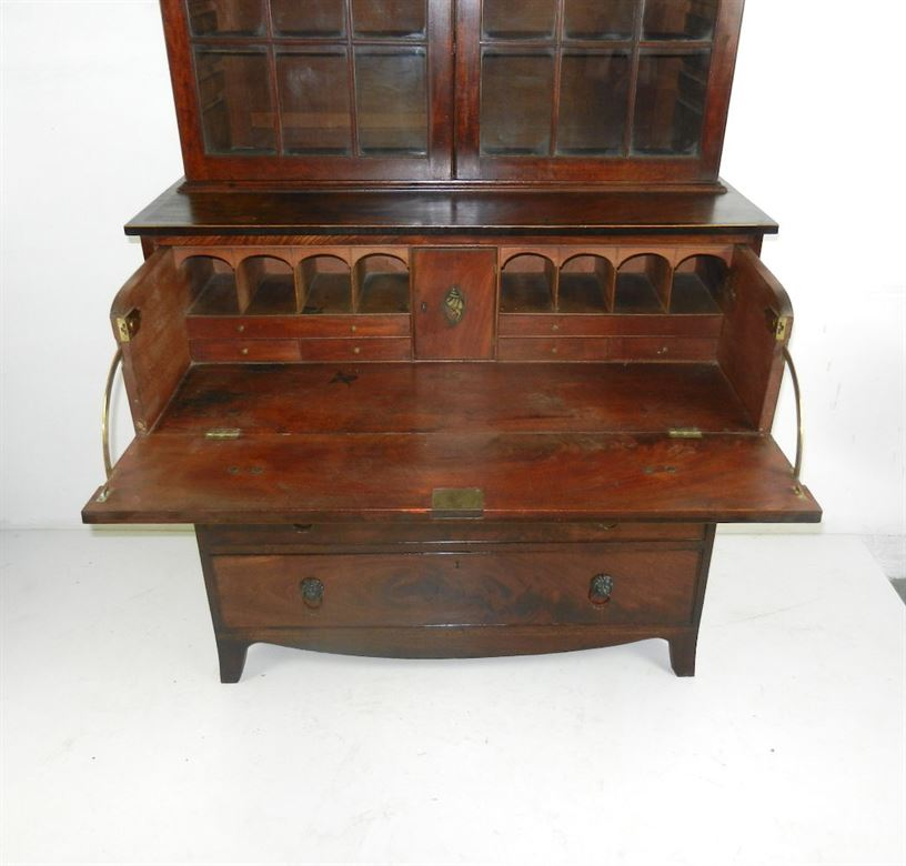 Handsome Late Regency Period Georgian Library Antique Mahogany Secretaire  Bookcase - ANTIQUE FURNITURE WAREHOUSE - Handsome - Georgian Antique Furniture Antique Furniture