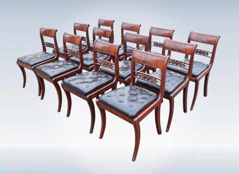 Handsome Set Of 12 Regency Mahogany Bar Back Dining Chairs