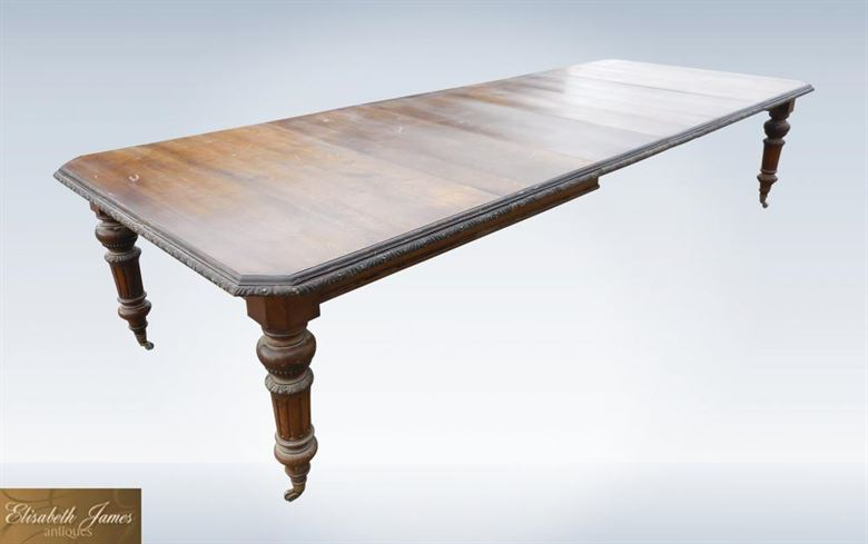 Huge 12ft Original Victorian Oak Wind Out Dining Table