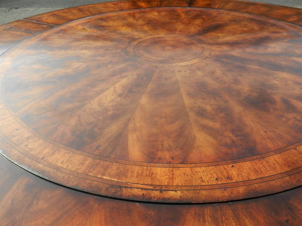 Large Jupe Regency Round Antique Dining Table