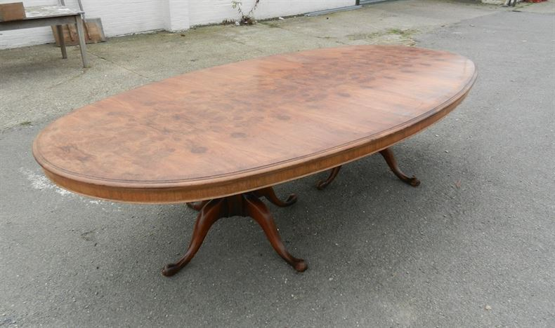 Huge Oval Formed Antique Table - 10ft Oval Burr Walnut Dining Table With Pedestal Bases