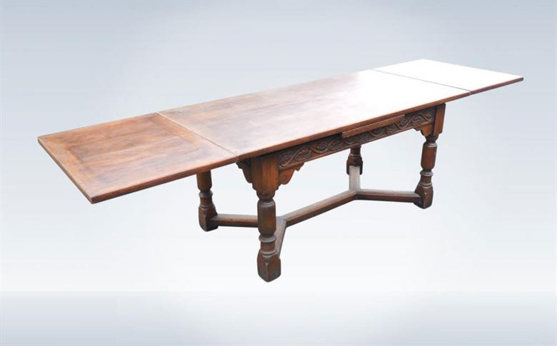 Jacobean Carved Oak Draw Leaf Refectory Table To Seat 10 People