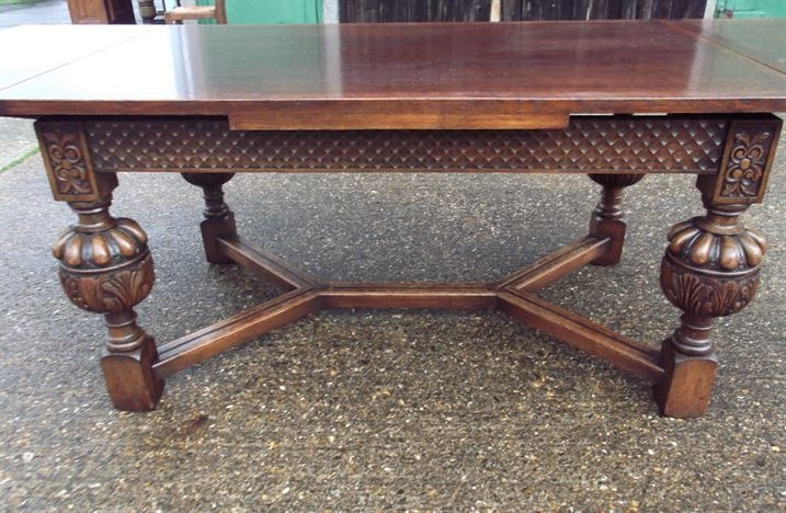 Jacobean Antique Table - 8ft Revival Oak Drawleaf Refectory Table To Seat Up To 10 People