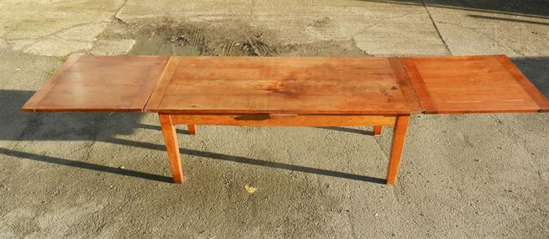 Large 12ft Late 19th Century French Cherry Wood Extending Antique Farmhouse Refectory Table