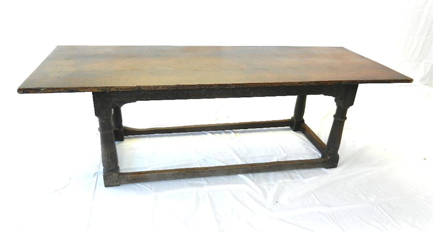 Large 18th Century Oak Refectory Table - Early 18th Century 8ft Plan Top Oak Refectory Table