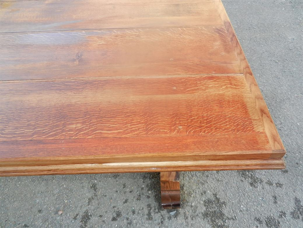 Large 4 Metre Arts & Crafts Solid Oak Antique Refectory Table
