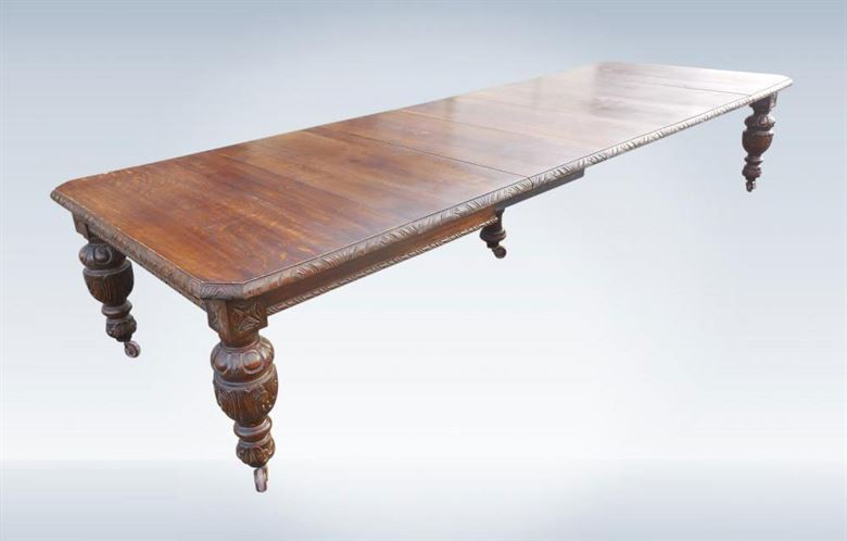 Large 4 Metre Antique Oak Extending Dining Table Jacobean Carved