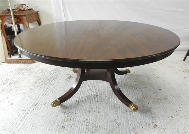 Large 5ft Round Regency Dining Table   Round Formed Regency Revival  Mahogany Dining Centre Table To Seat 8 People Comfortable