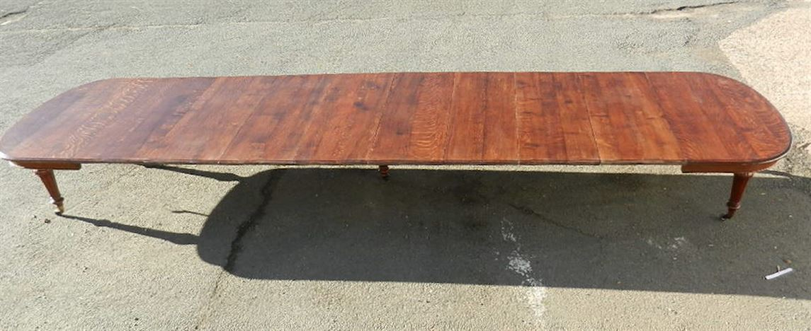 Large 6 Metre Victorian Oak Table - Mid 19th Century 20ft Oak Extending Dining Table To Seat Up To 24 People
