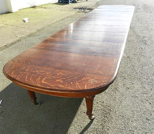 Antique furniture warehouse large 6 metre victorian oak for Dining table to seat 20