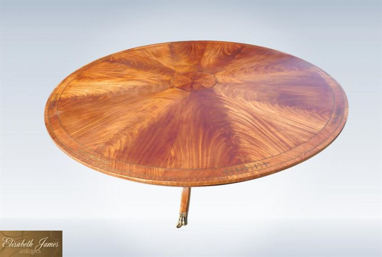 Large 6ft Diameter Regency Mahogany Round Dining Table  With Brass Inlay