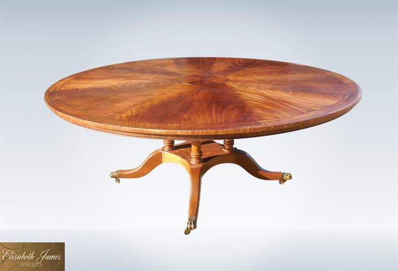 Large genuine round antique table seat 10 people for 6ft round dining table