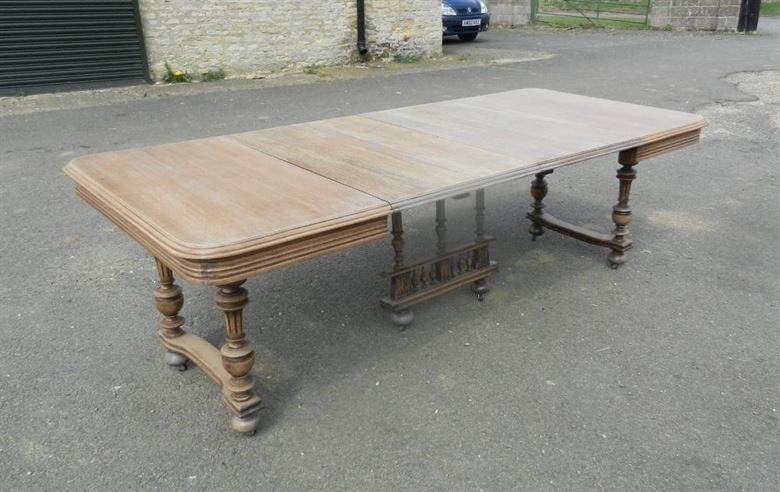 Large 8ft Extending Late 19th Century French Bleached Oak Antique Table