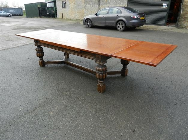 Large Carved Oak Refectory Table - 12ft Jacobean Revival Oak Drawleaf Refectory Table To Seat 12 To 14 People