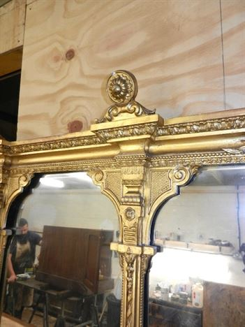 Antique Furniture Warehouse Large English Gilt Mirror