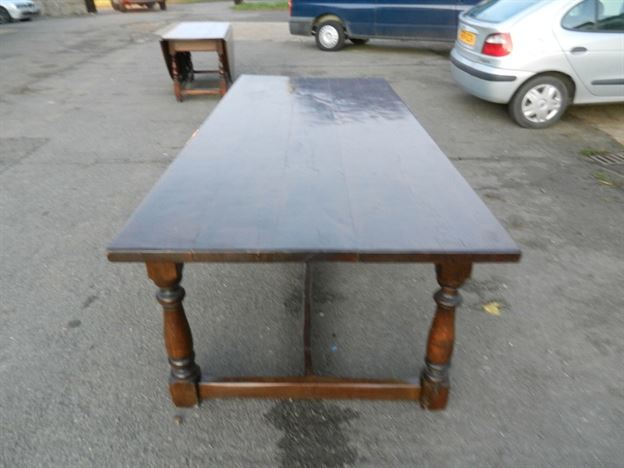 Large English Antique Refectory Table - 8ft Charles II Manner Revival Oak Refectory Table Of Good Width