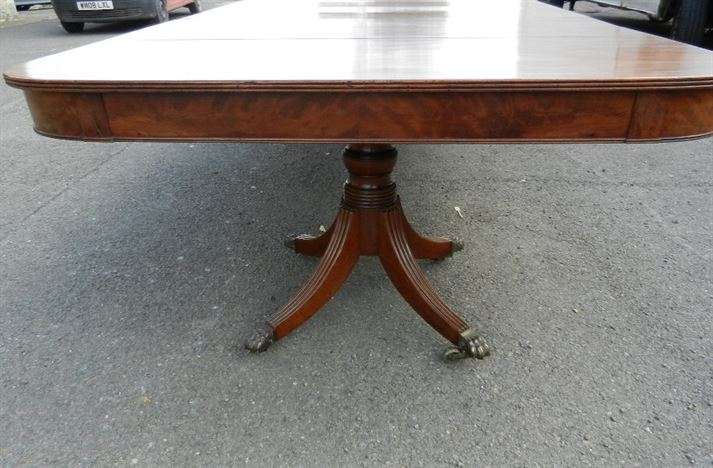 Large Georgian Pedestal Table - 11ft Regency Period Console End Twin Pedestal Mahogany Dining Table