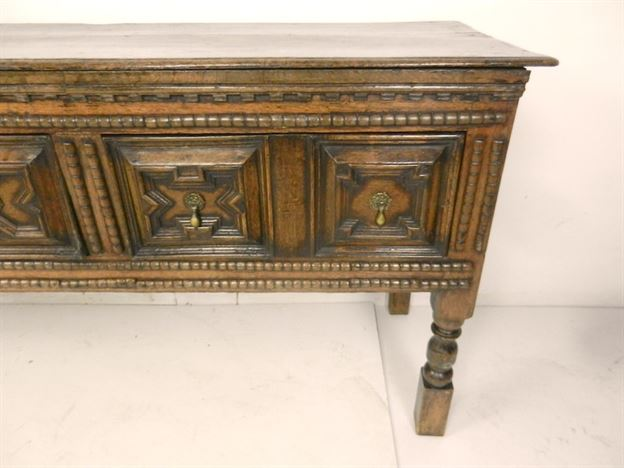 Large Late 17th Century Geometric Moulded Antique Oak Dresser