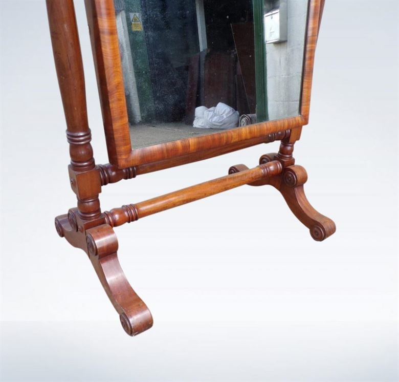 Large Late Regency Mahogany Cheval Dressing Mirror With Candelabra