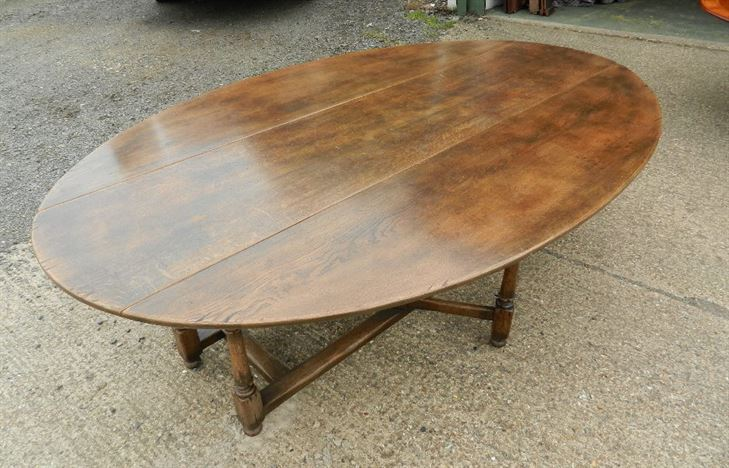 Large Oval Antique Oak Table - 8ft Oval Formed 17th Century Manner Oak Wake Table To Seat Up To 12 People