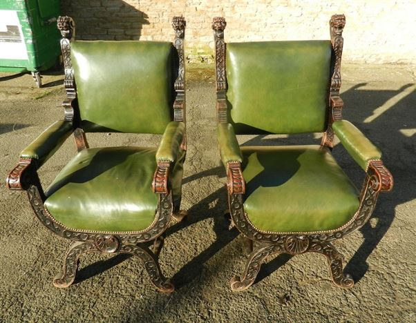 Large Pair Late 19th Century Gothic Antique Oak Throne Hall Chairs - ANTIQUE FURNITURE WAREHOUSE - Large Pair Late 19th Century Gothic
