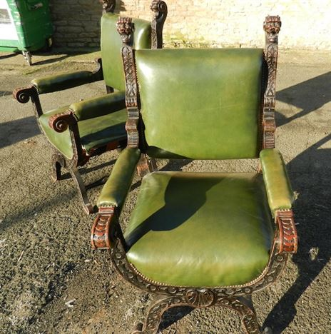 Large Pair Late 19th Century Gothic Antique Oak Throne Hall Chairs