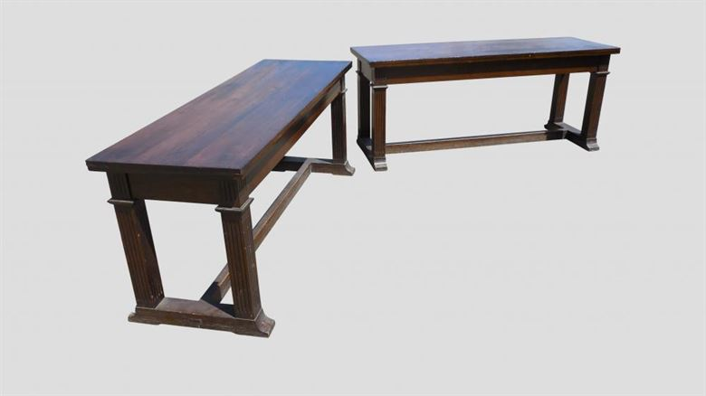 Large Pair Of Antique Console Tables From Late Victorian Arts & Crafts Period