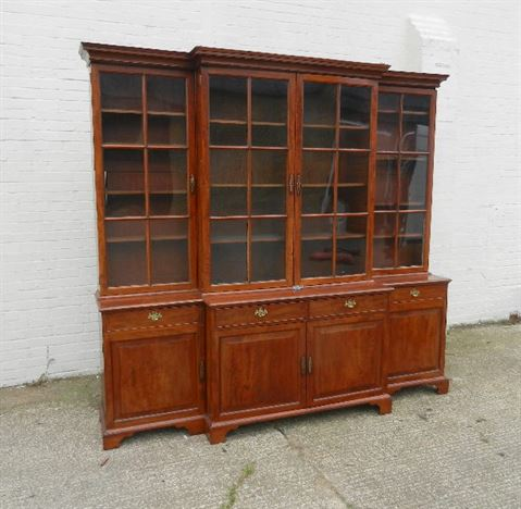 Large Regency Library Bookcase - Early 19th Century Coromandel Breakfront Library Bookcase