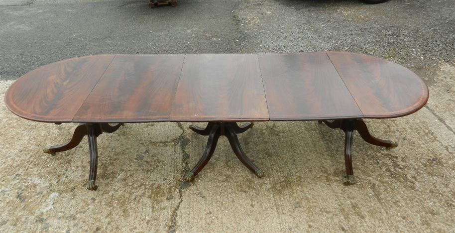 Large Regency Mahogany Pedestal Table - 3 Metre Demi Ended Regency Triple Pedestal Dining Table To Seat 12 To 14 People