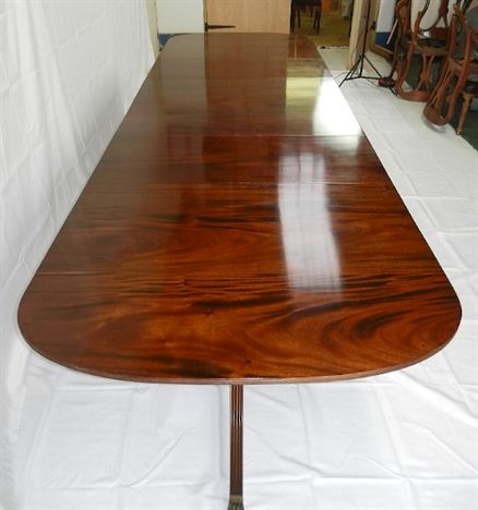 Large Regency Pedestal Dining Table - 12ft Triple Pedestal Extending Mahogany Dining Table To Seat 14 Comfortable