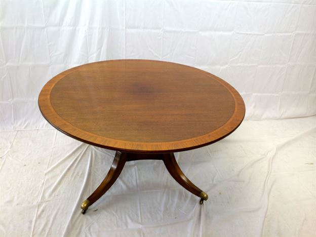 Large Regency Round Table - Eight Seater Regency Revival Mahogany Round Breakfast Table