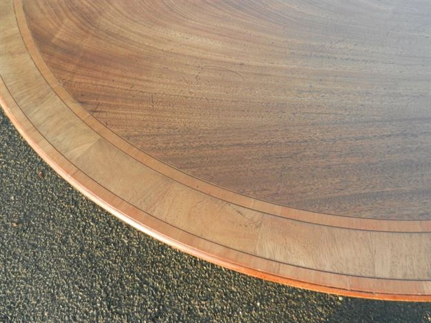 Large Round Antique Regency Table - Georgian Revival Mahogany Dining Table To Seat 8 People