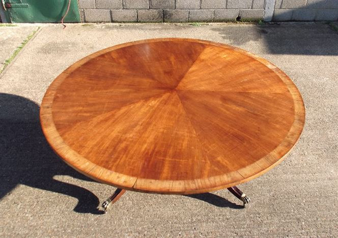 Large Round Antique Table 2 Metres - Regency Revival Mahogany And Crosbanded Round Pedestal Table To Seat 10 People Comfortably