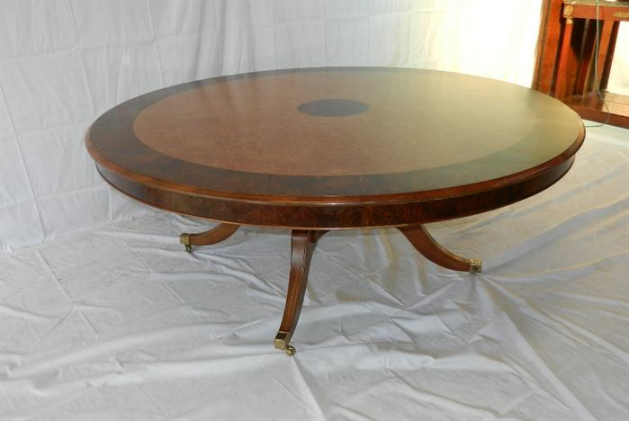 round regency manner burr walnut dining table to seat 10 to 12 people