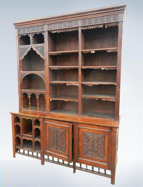 Large Victorian Oak Housekeepers Dresser From Arts Crafts Period
